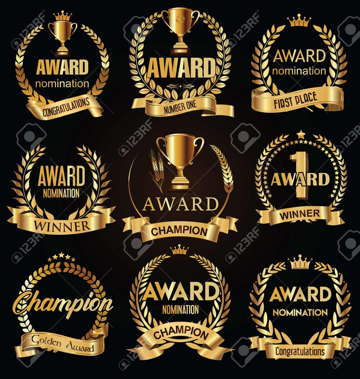 Award golden retro banner on black background - 156425957
