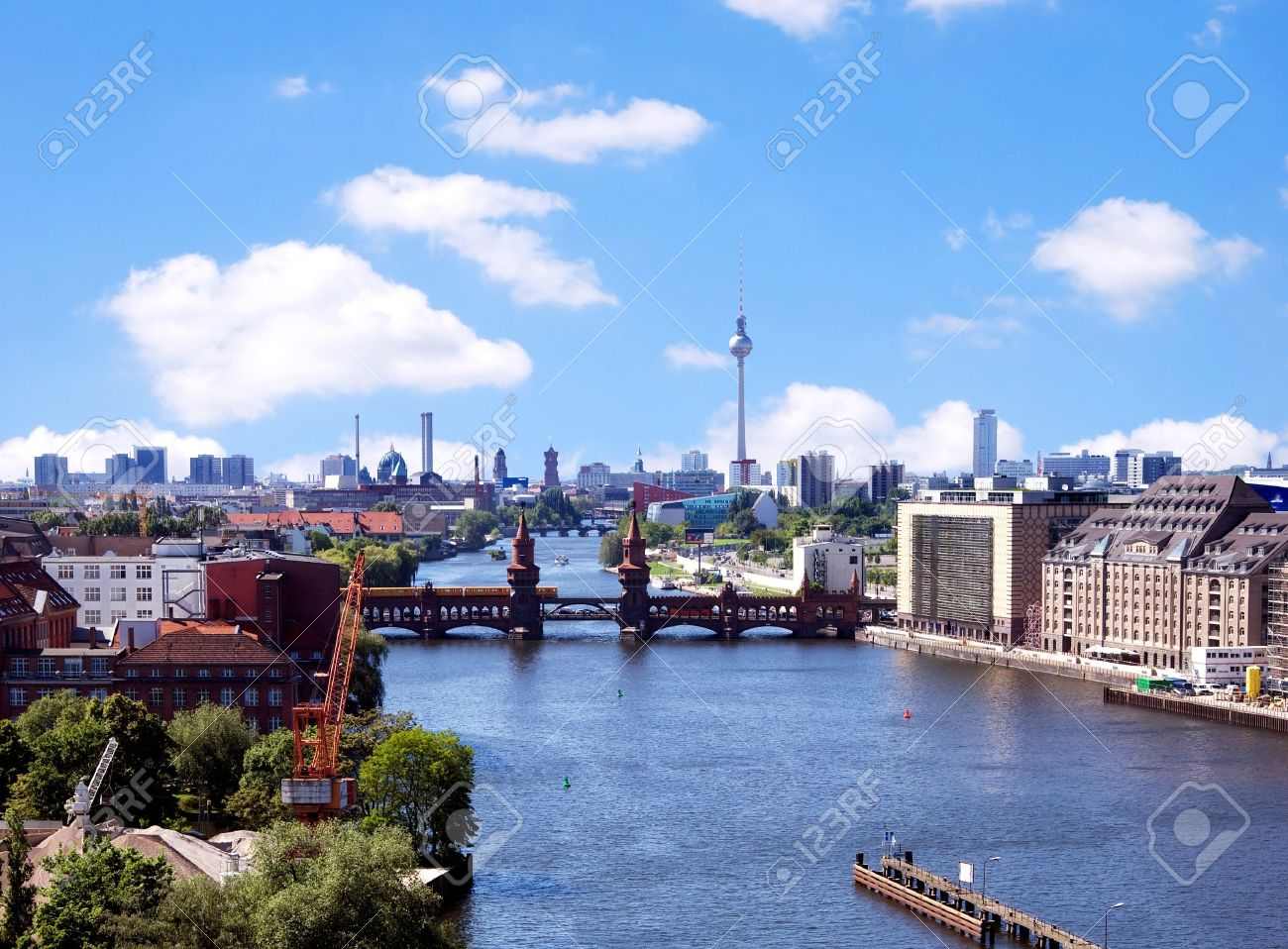 berlin skyline aerial view with river spree and oberbaumbruecke Stock Photo - 16315907