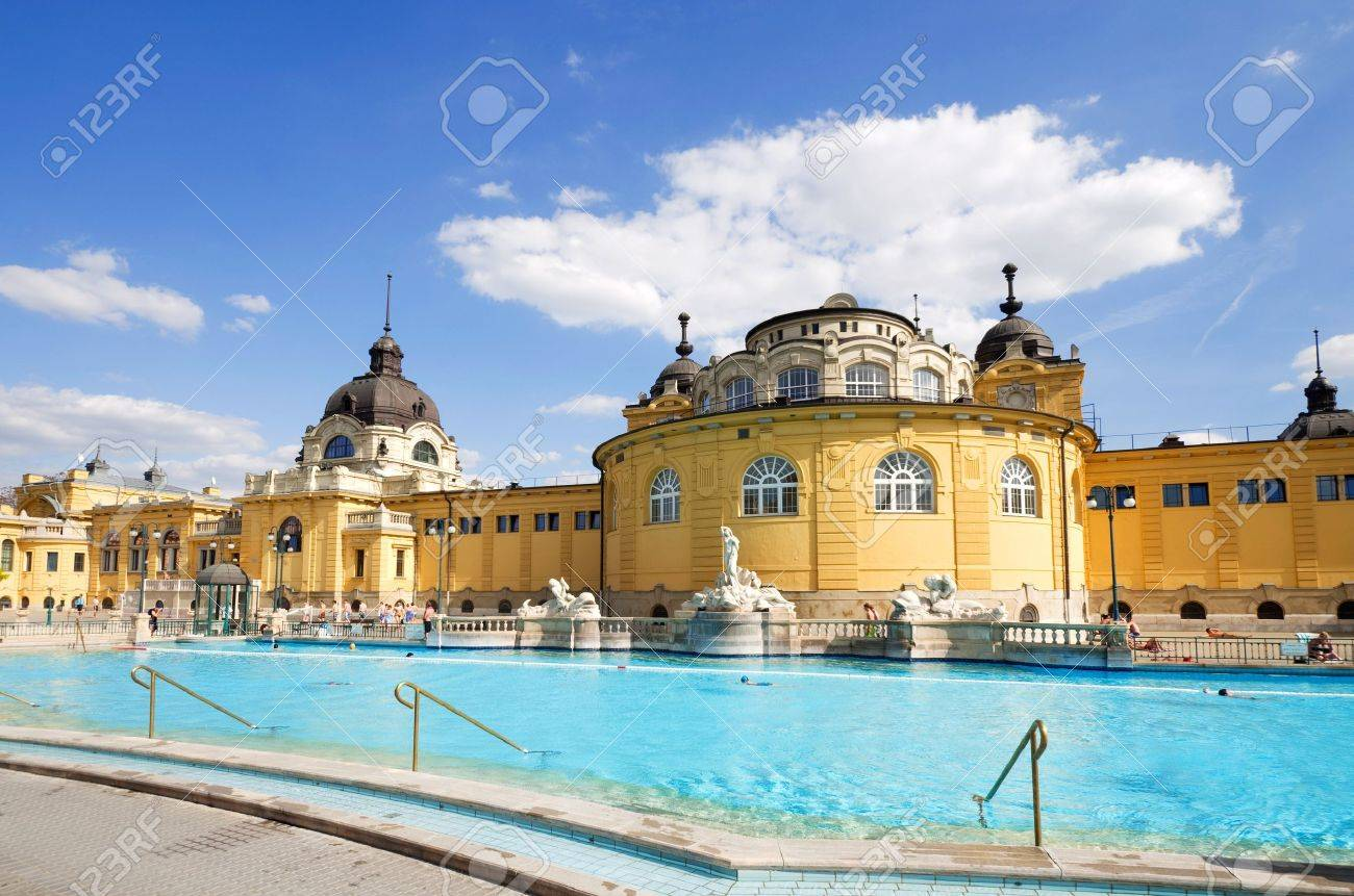 Budapest Szechnyi Bath Spa In Summer With People Stock Photo ...