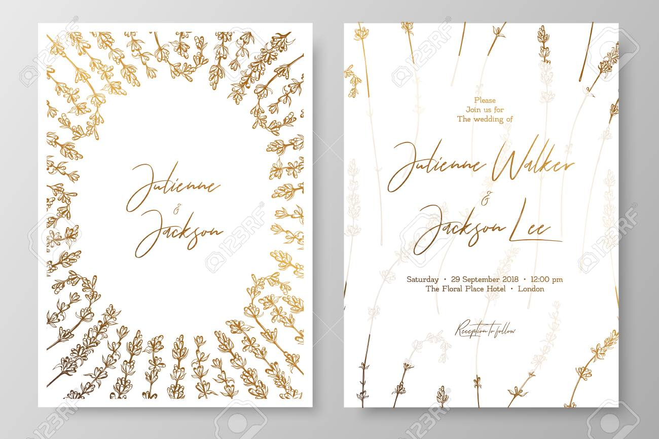 Gold Wedding Invitation With Lavenders. Gold Cards Templates ...