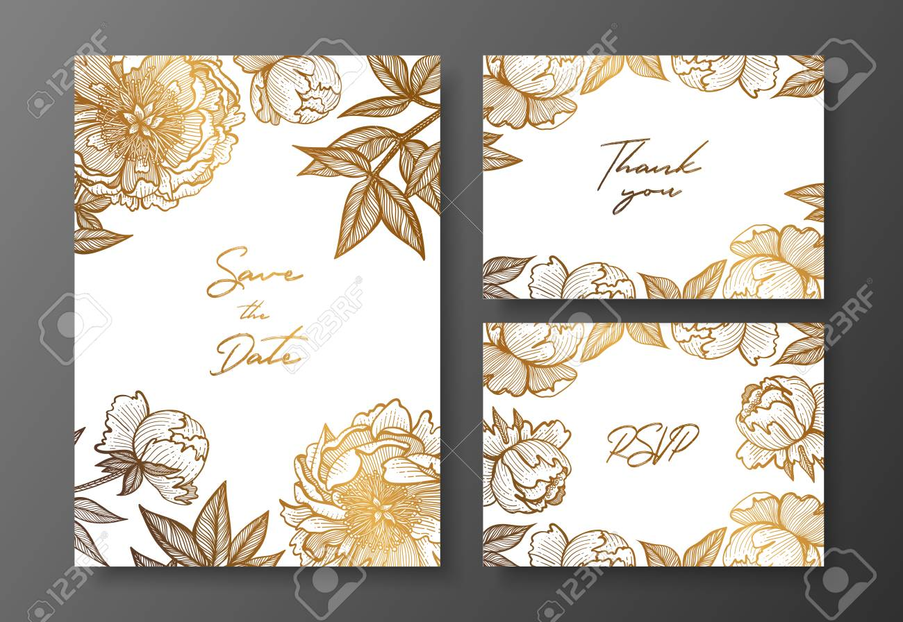 Gold Wedding Invitation With Peonies Vector Illustration Template ...