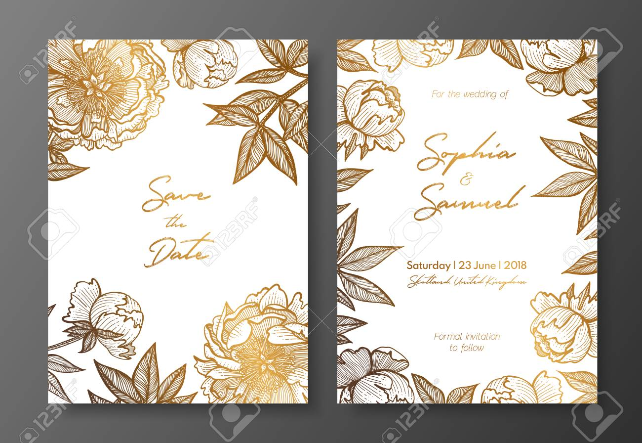 Gold wedding invitation with peonies. Gold cards templates for..