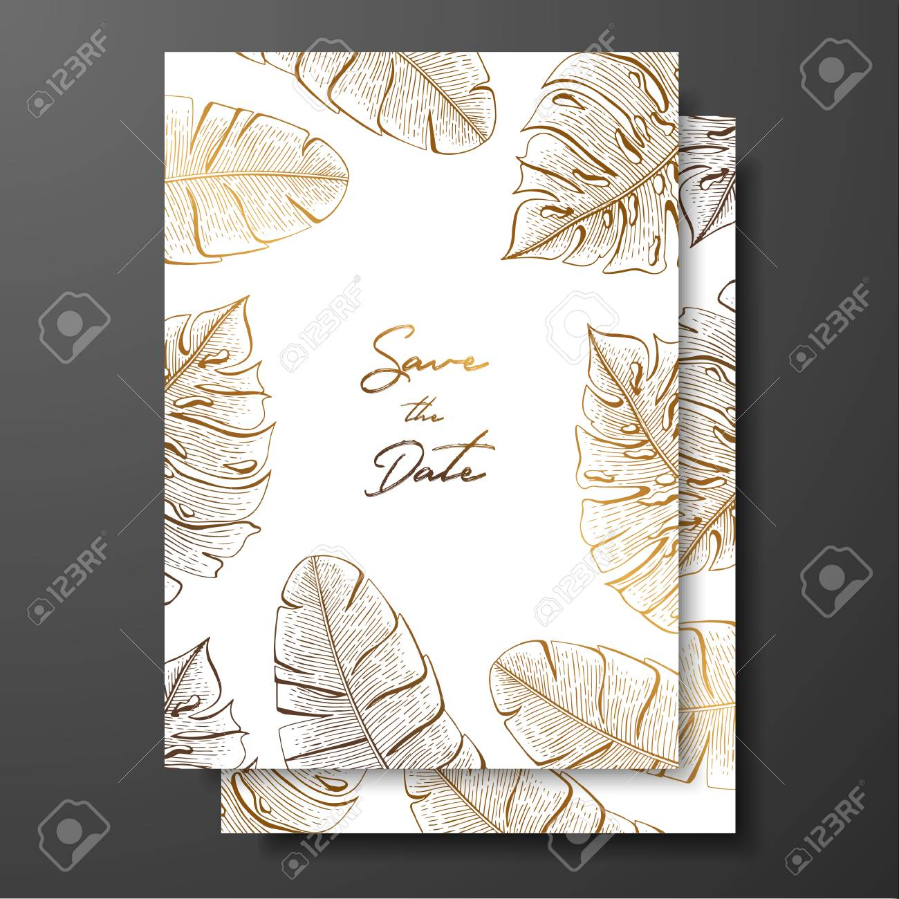 Gold Wedding Invitation With Tropical Leaves. Vector Elements ...