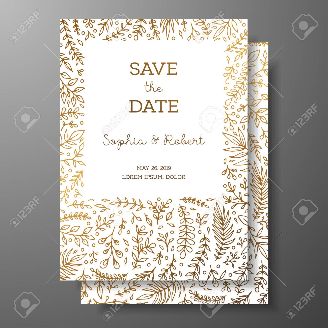 Wedding Vintage Invitation Save The Date Card With Golden Twigs