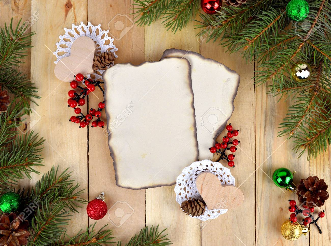 Christmas Background In Rustic Style Old Paper For Congratulations