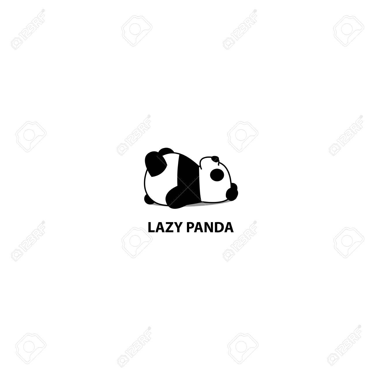 Lazy panda sleeping icon, logo design, vector illustration - 104201097