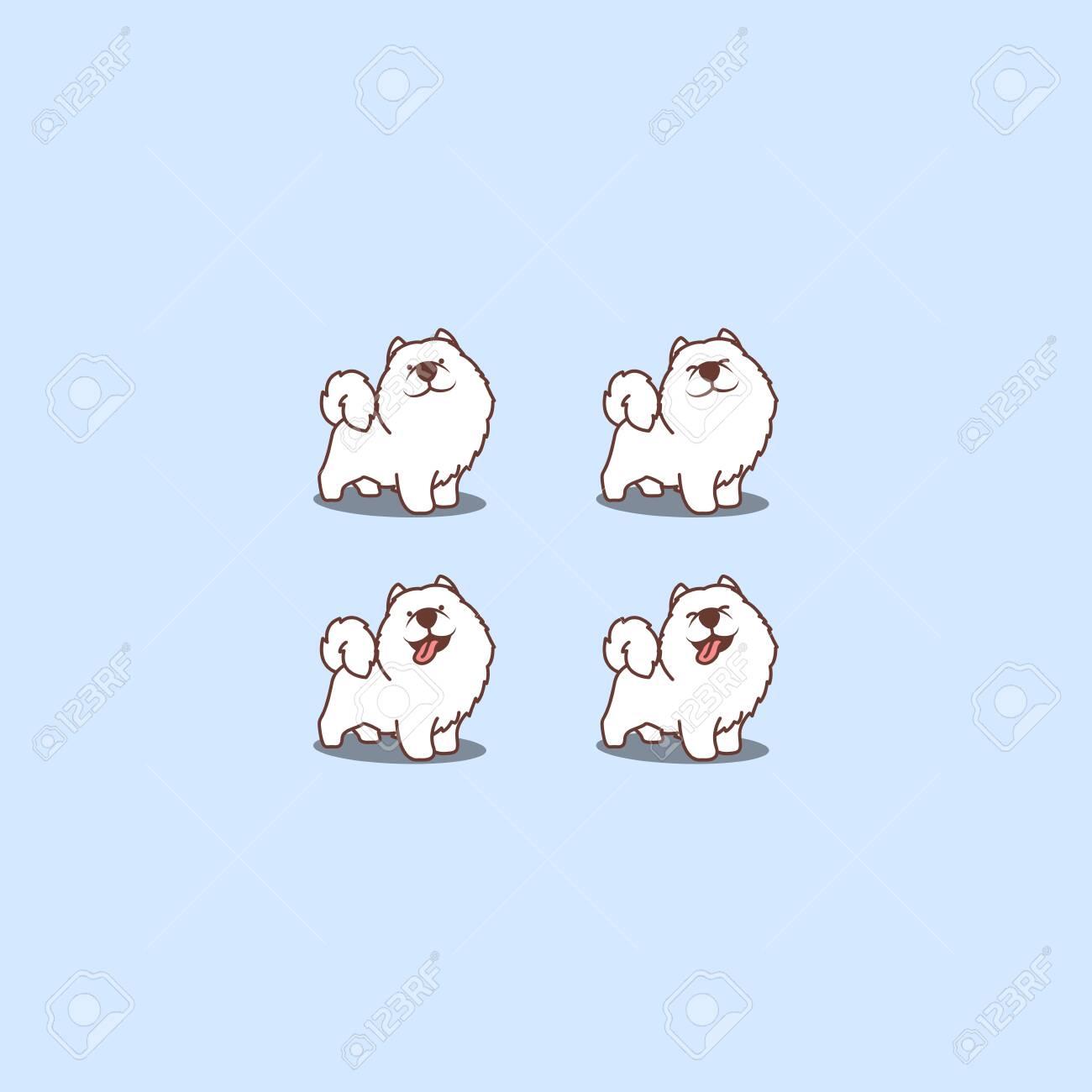 Cute Samoyed Dog Cartoon Set Vector Illustration Ilustraciones Vectoriales Clip Art Vectorizado Libre De Derechos Image 148232872