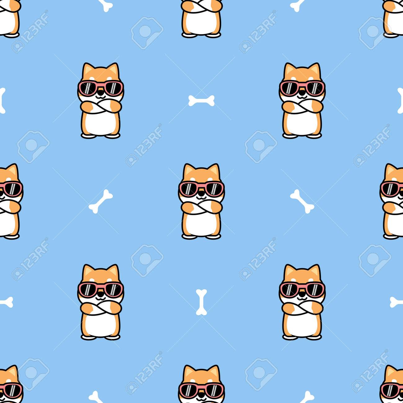 Cute shiba inu dog with sunglasses crossing arms cartoon seamless pattern, vector illustration - 164045052