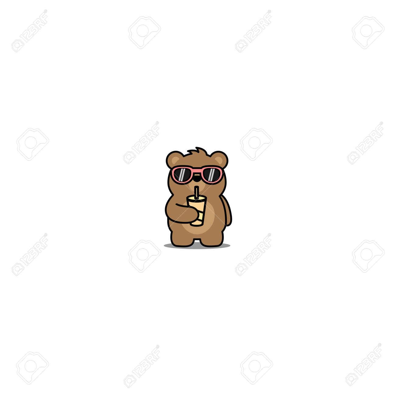 Cute bear with sunglasses drinking water cartoon, vector illustration - 164045059