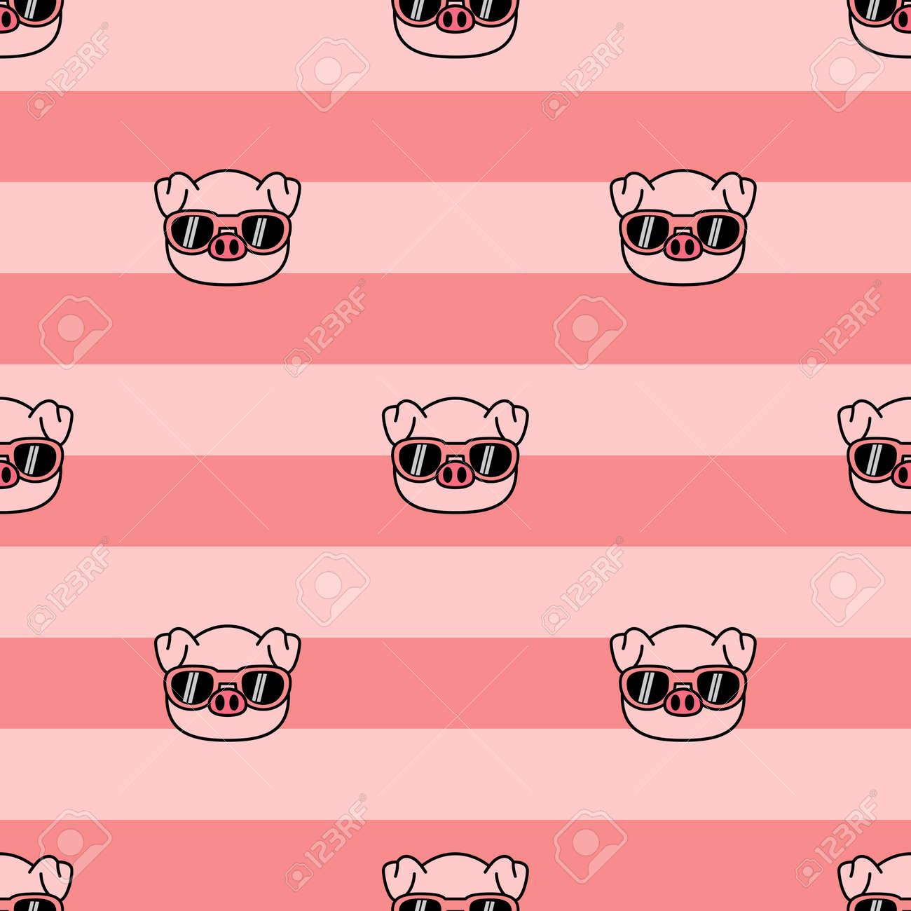 Cute pig with sunglasses cartoon seamless pattern, vector illustration - 164045076