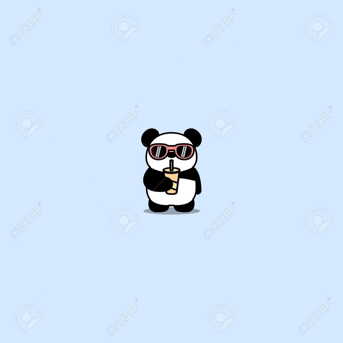 Cute panda with sunglasses drinking water cartoon, vector illustration - 164045116