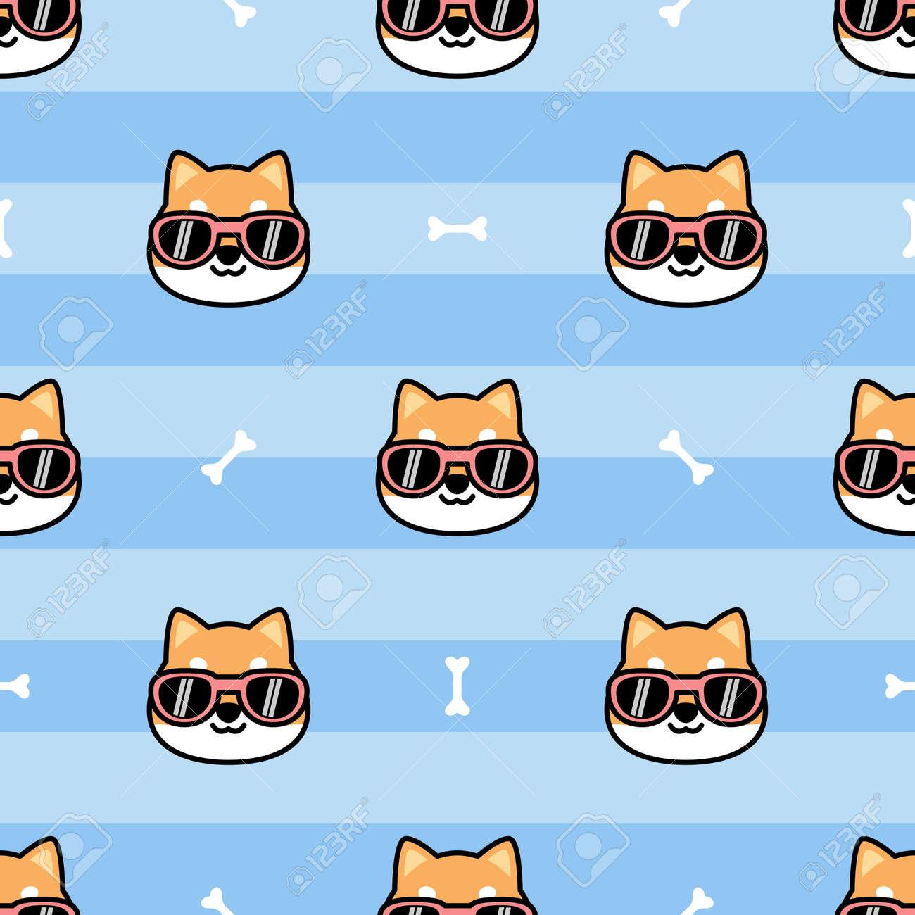Cute shiba inu dog face with sunglasses cartoon seamless pattern, vector illustration - 164045121