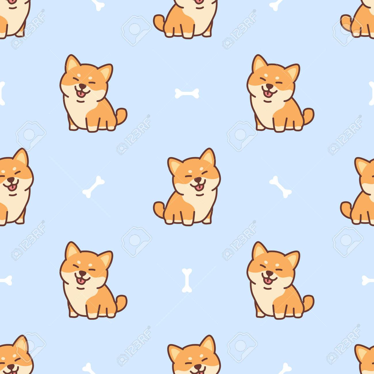 Cute shiba inu dog cartoon seamless pattern, vector illustration - 164044981