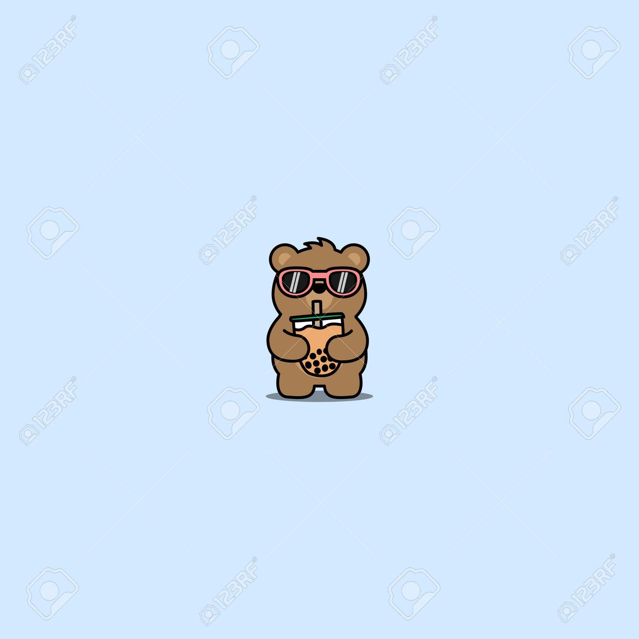Cute bear with sunglasses drinking bubble tea cartoon, vector illustration - 164044989