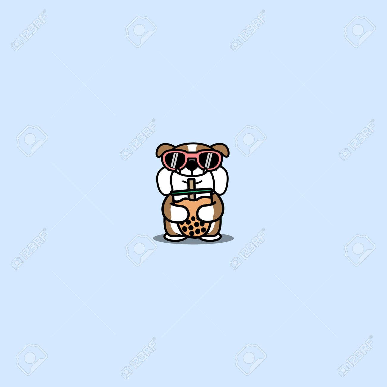 Cute english bulldog with sunglasses hugging bubble tea cartoon, vector illustration - 164045007