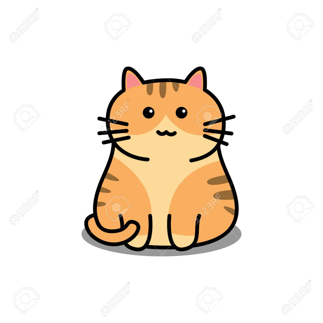 Cute orange cat cartoon, vector illustration - 169151621