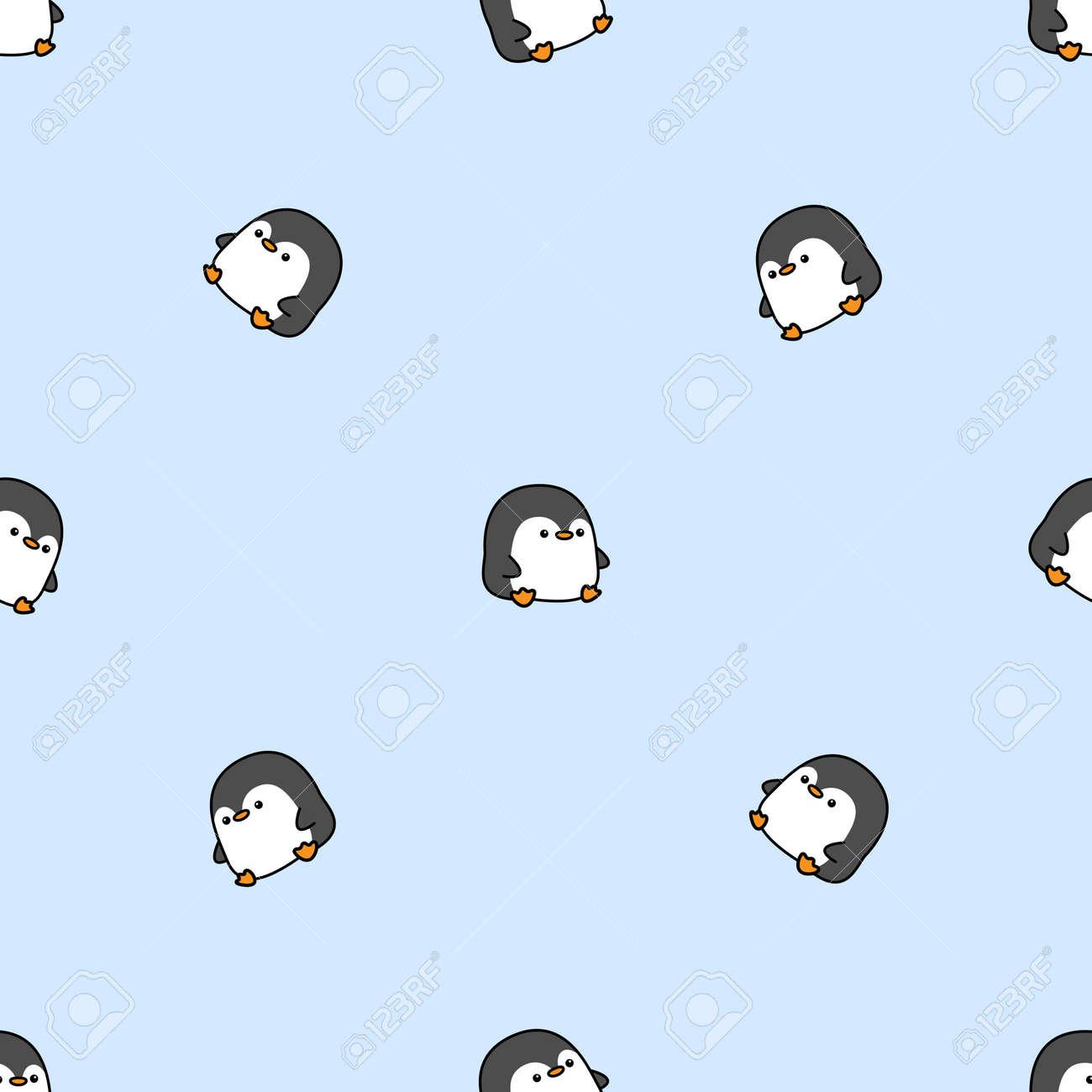 Cute fat penguin cartoon seamless pattern, vector illustration - 169151617