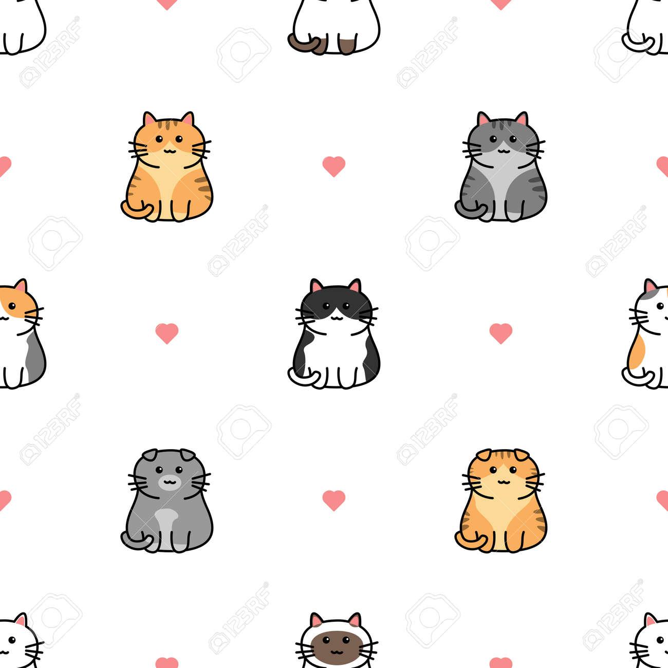 Cute cat with heart cartoon seamless pattern, vector illustration - 169151634