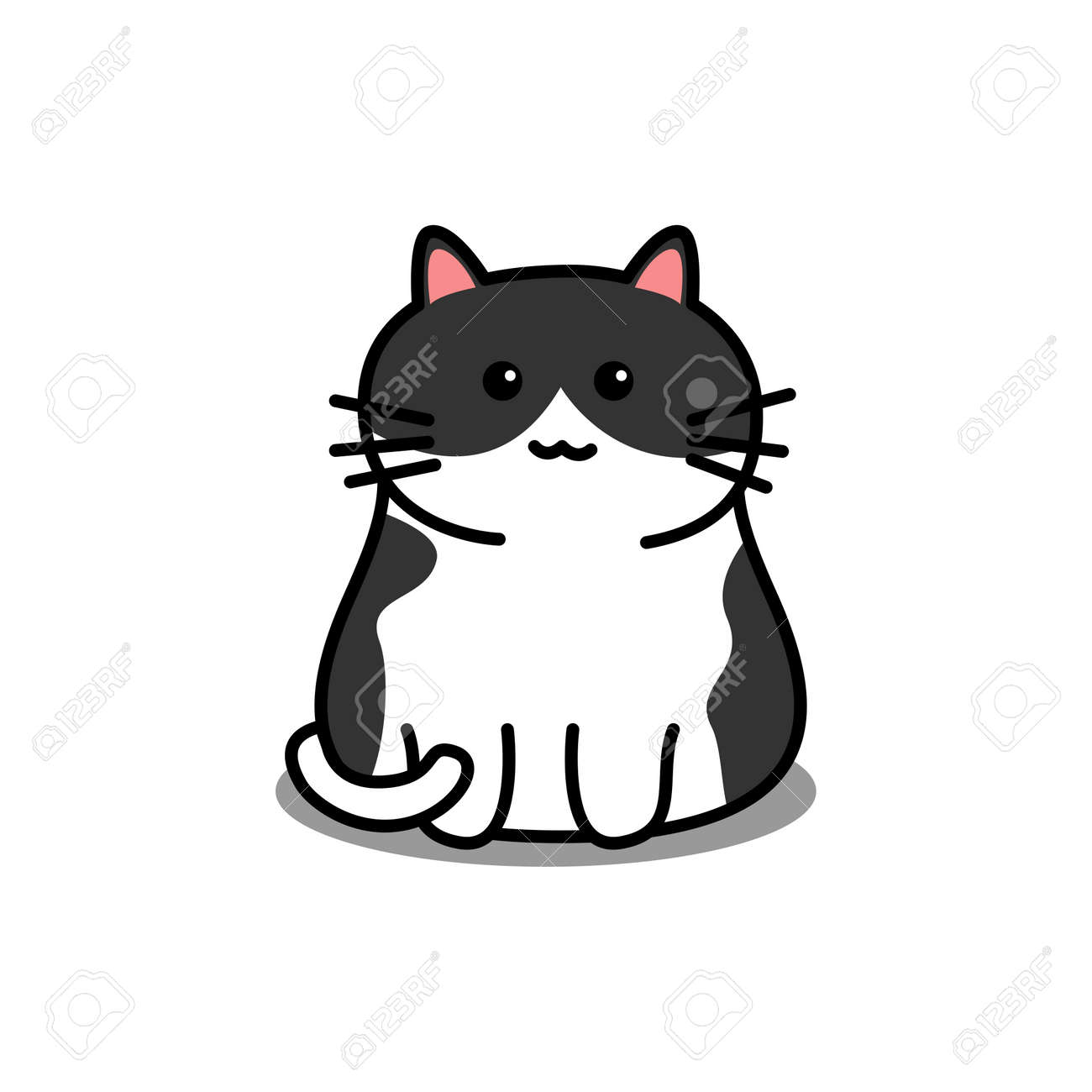 Cute black and white cat cartoon, vector illustration - 169151626