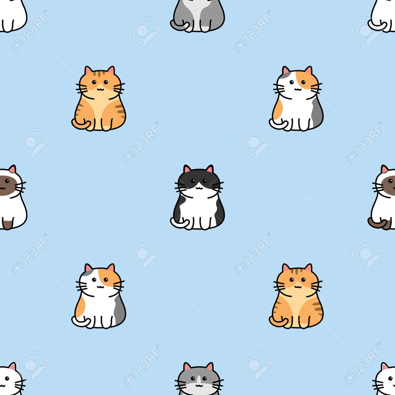 Cute cat cartoon seamless pattern, vector illustration - 169151635