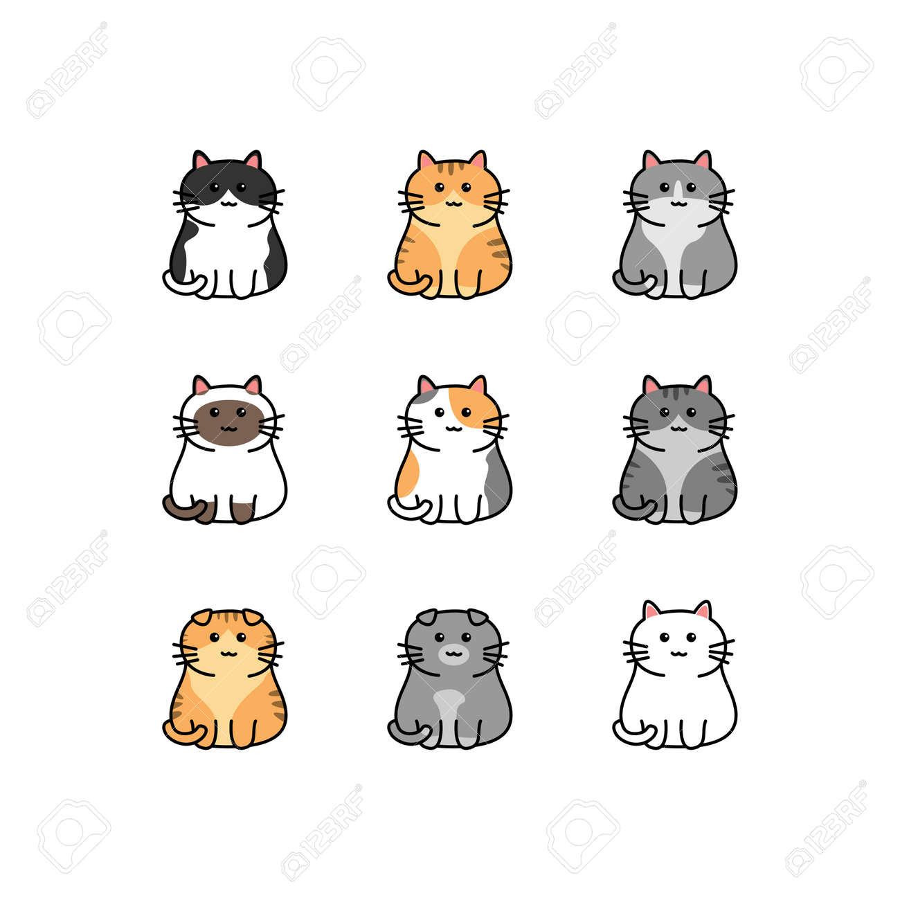 Cute cat cartoon collection, vector illustration - 169151630