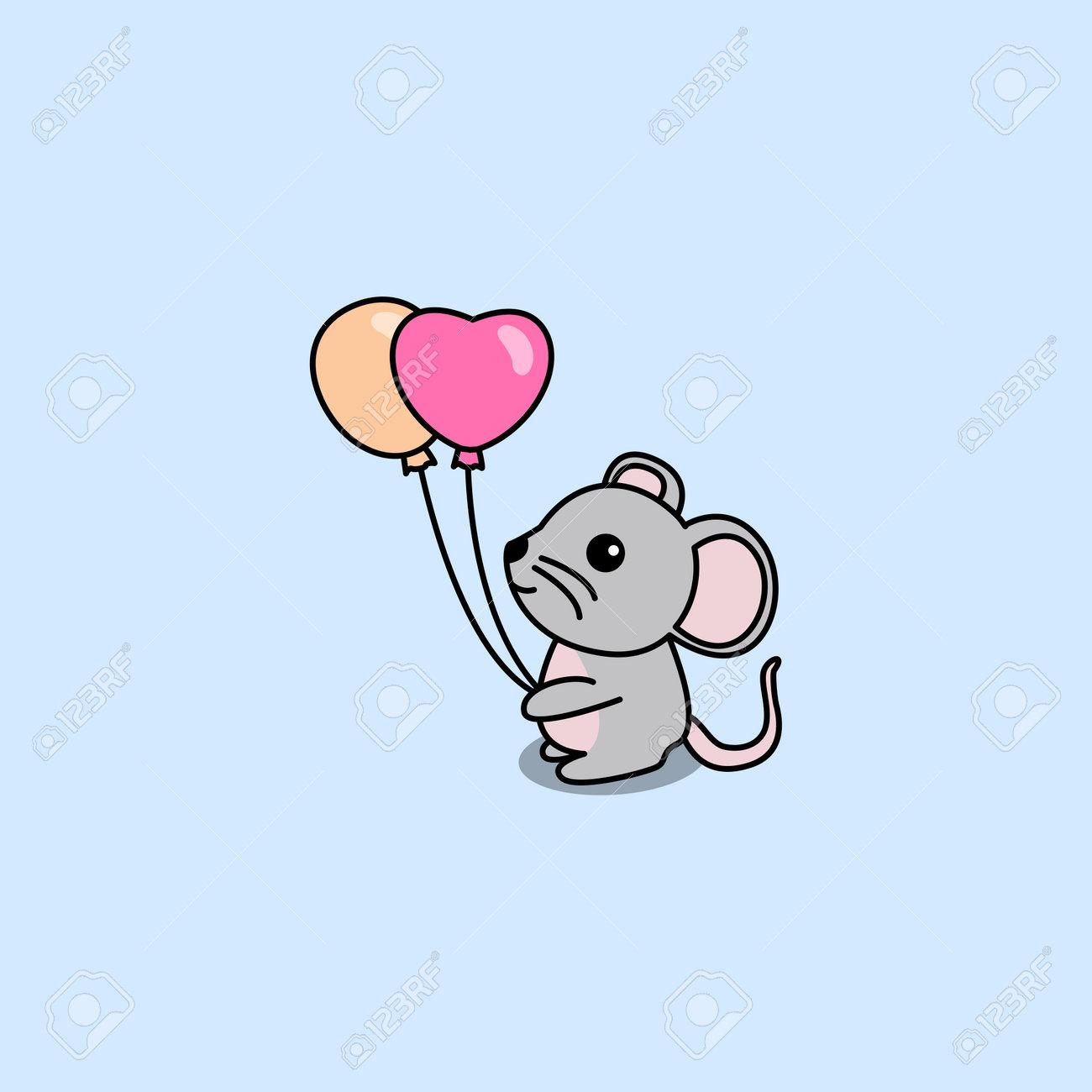 Cute mouse holding balloons cartoon, vector illustration - 169151631