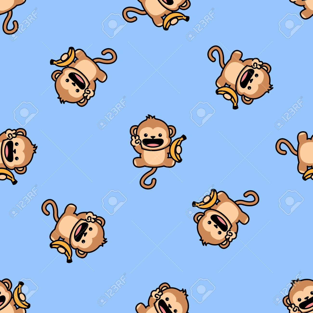 Cute monkey holding banana cartoon seamless pattern, vector illustration - 169153194