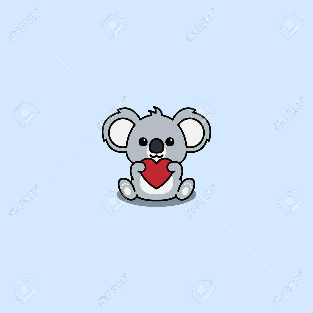 Cute koala holding red heart shaped cartoon, vector illustration - 169153199