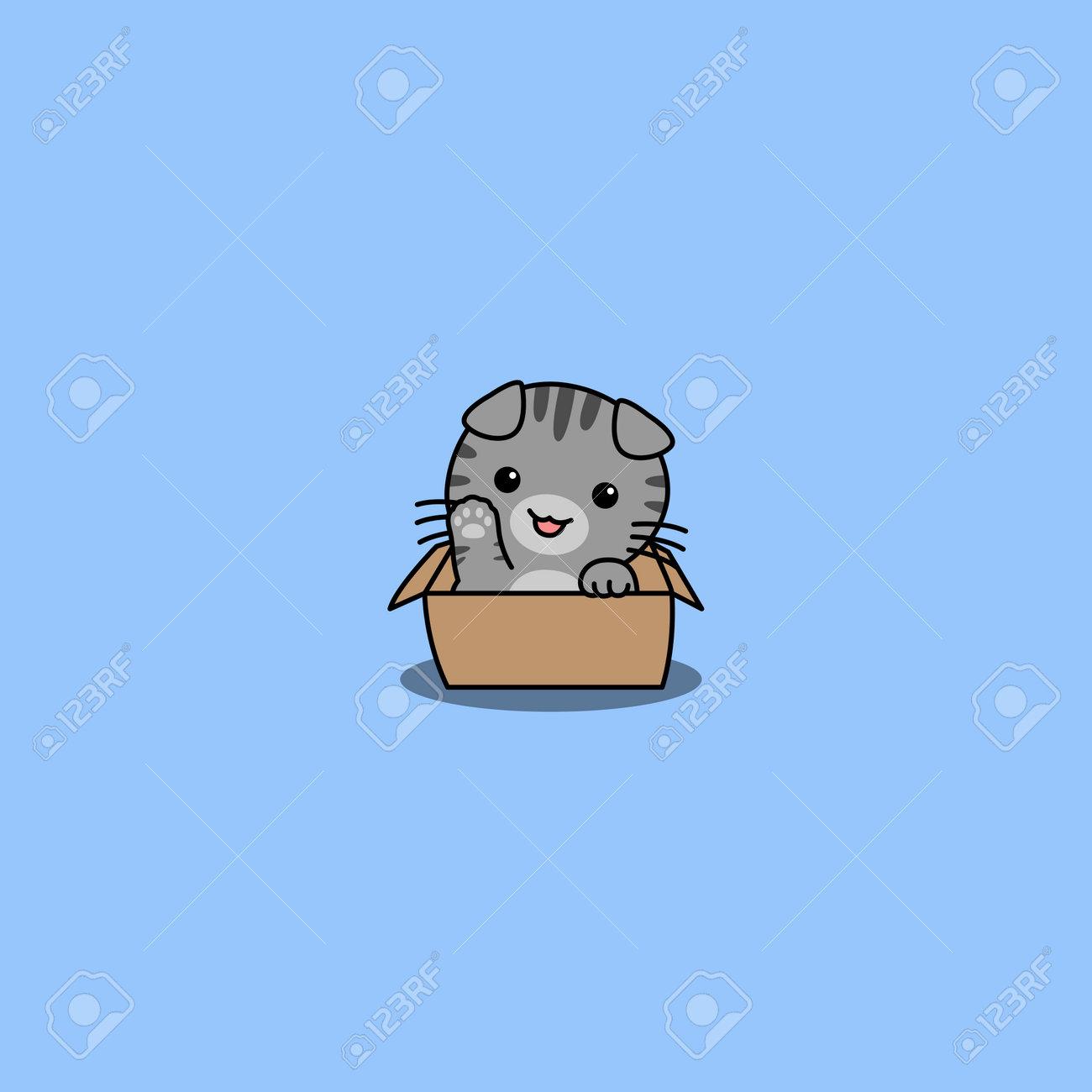 Cute scottish fold cat waving paw in the box cartoon, vector illustration - 169153200