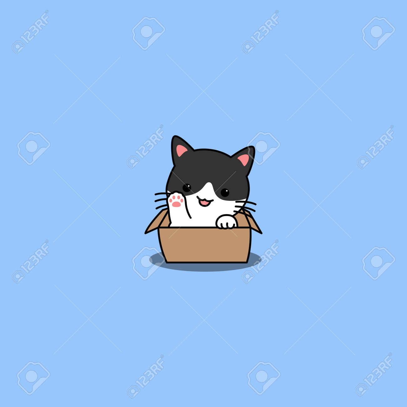 Cute cat waving paw in the box cartoon, vector illustration - 169153204