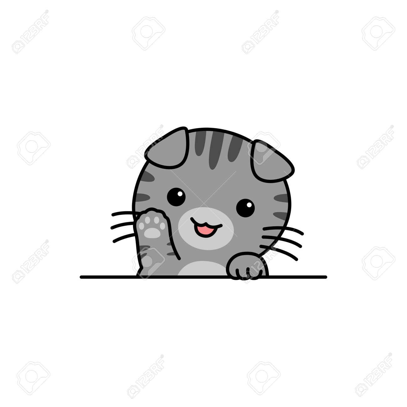Cute scottish fold cat waving paw cartoon, vector illustration - 169153207