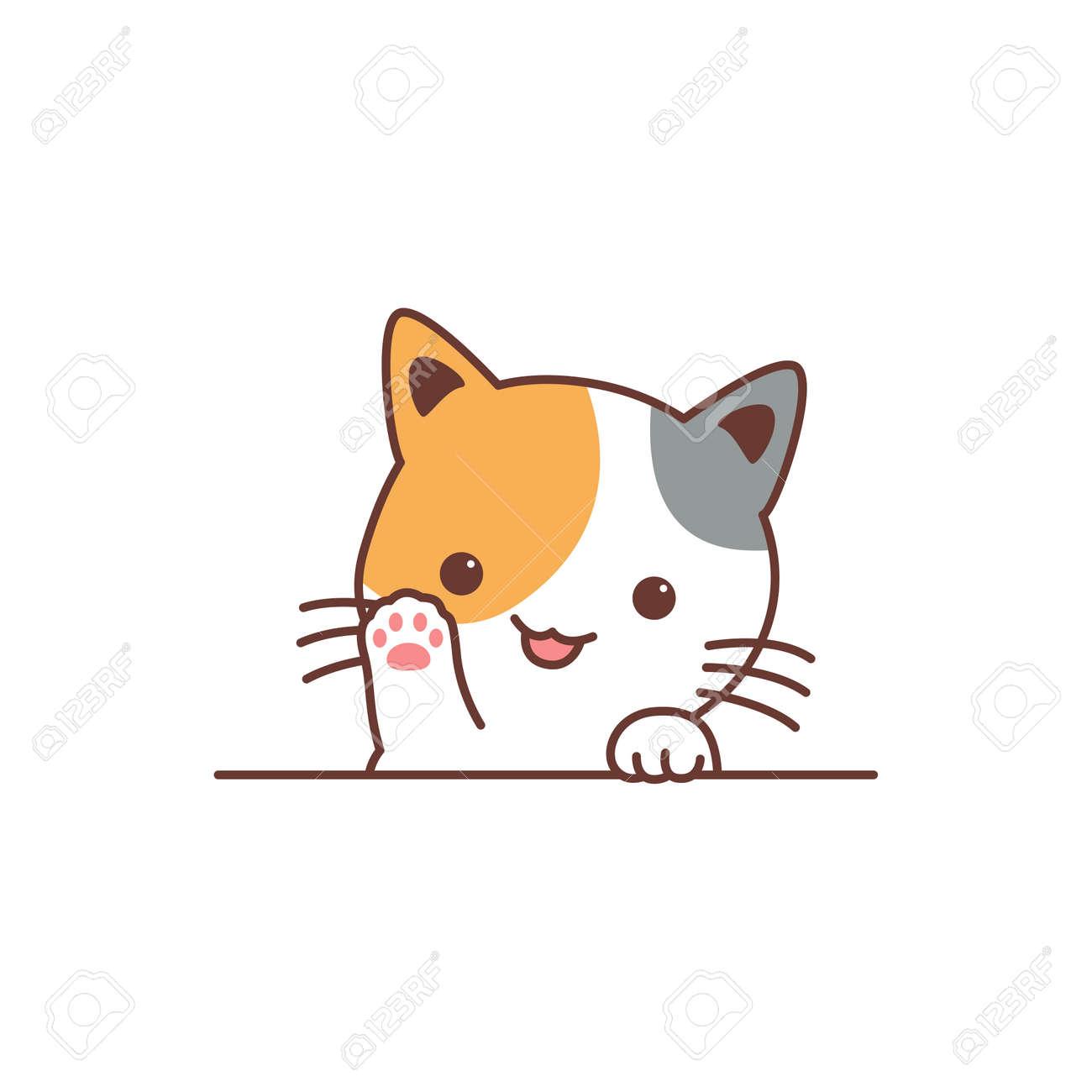 Cute three color cat waving paw cartoon, vector illustration - 169153208