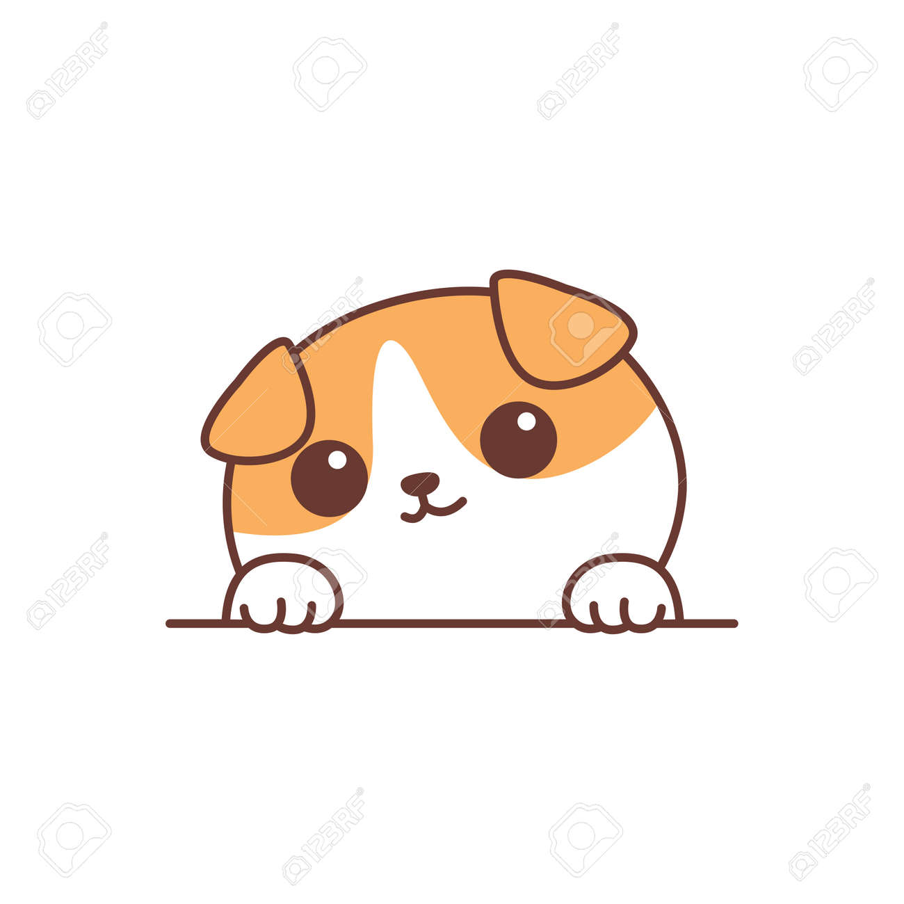 Cute scottish fold cat paws up over wall cartoon, vector illustration - 170584574