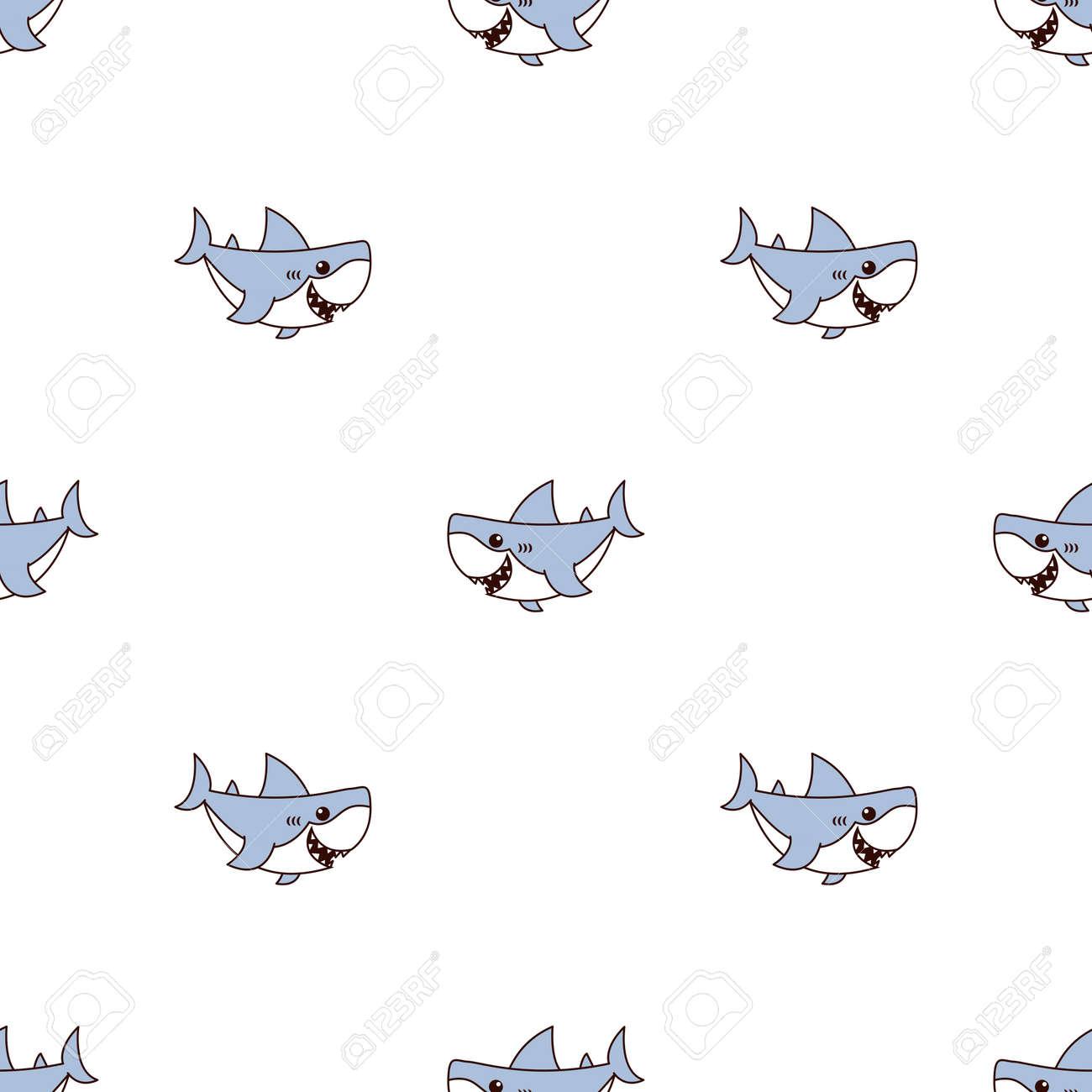 Cute shark cartoon seamless pattern, vector illustration - 170584579