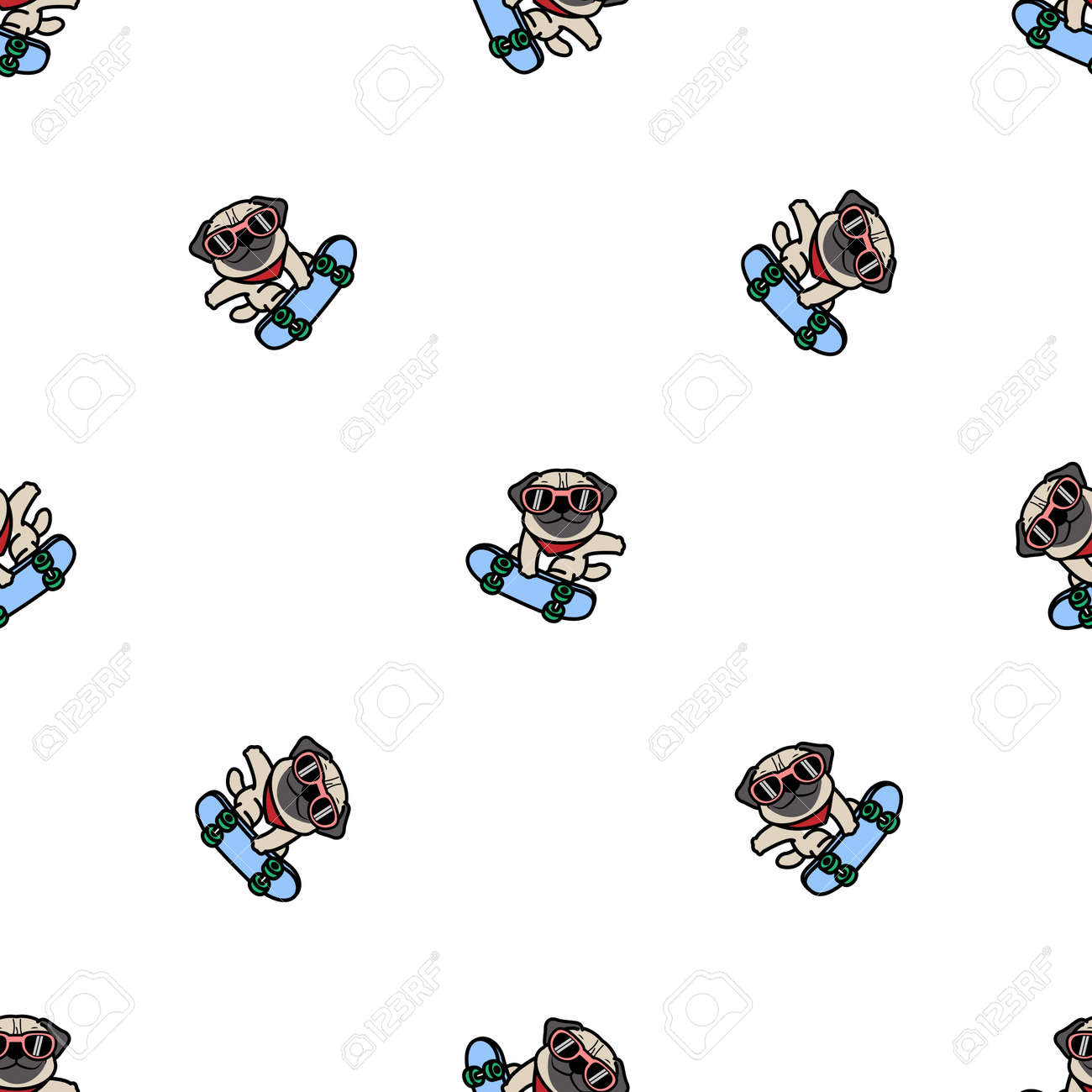 Cute pug dog playing skateboard cartoon, vector illustration - 170586852