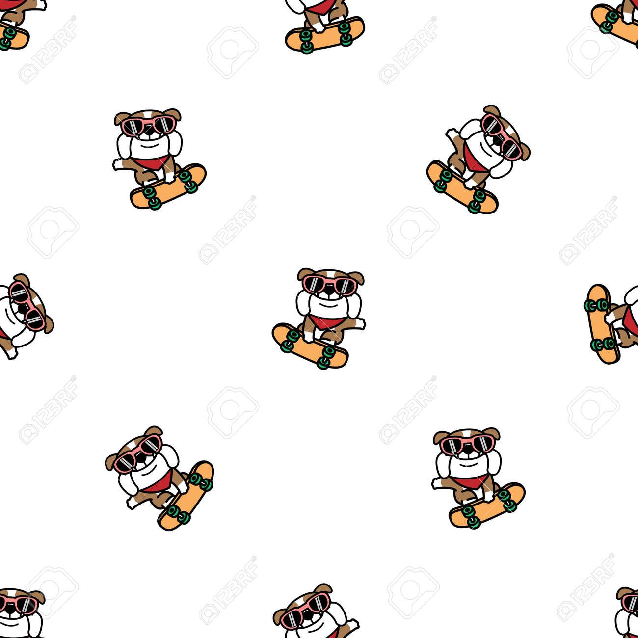 Cute bulldog dog playing skateboard cartoon seamless pattern, vector illustration - 170587213