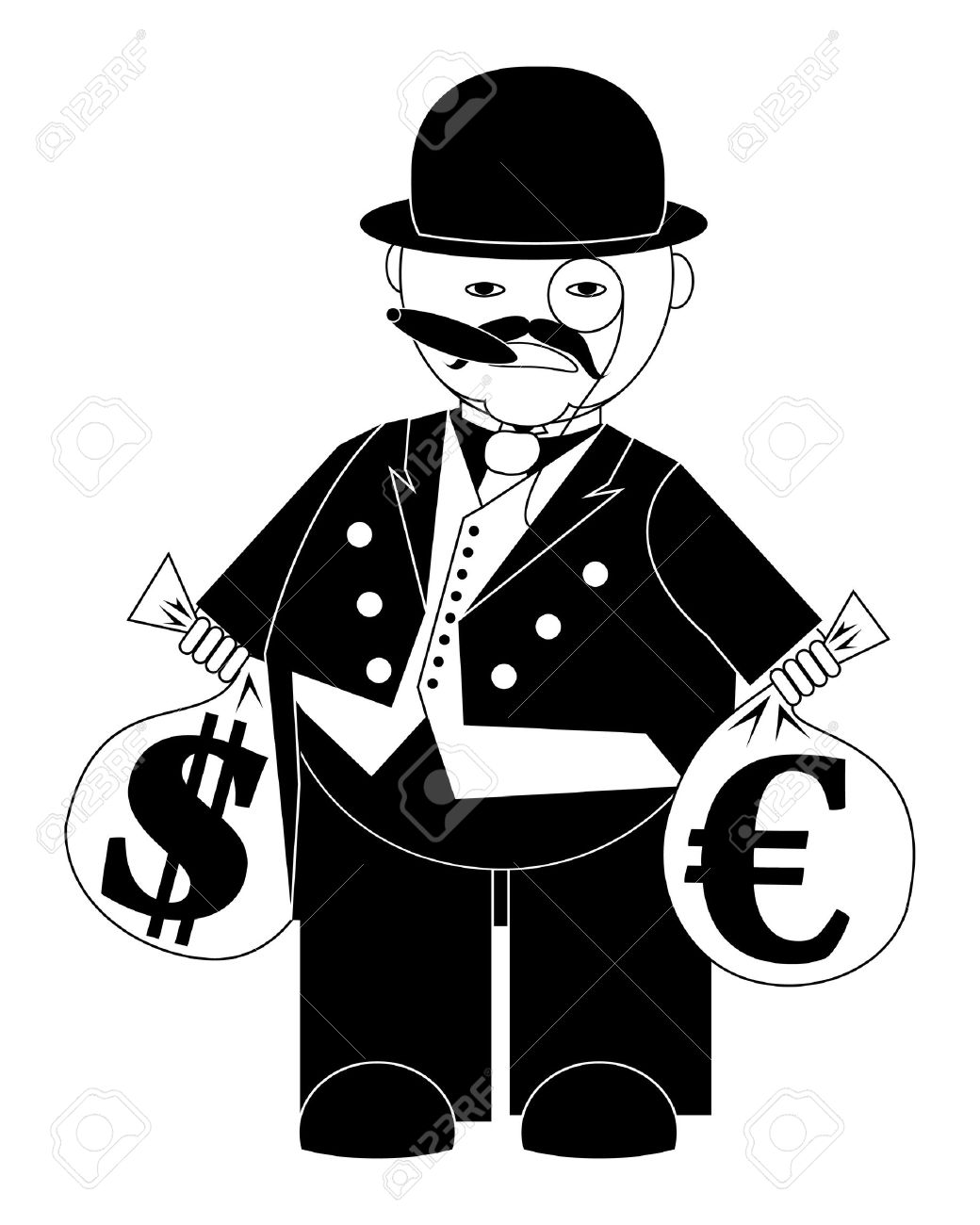 vector illustration cartoon banker with bags of money isolated on white Stock Vector - 9410667