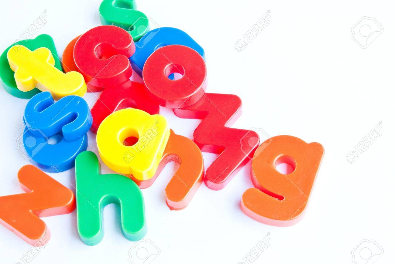 Plastic letters on white background Stock Photo - 8825827