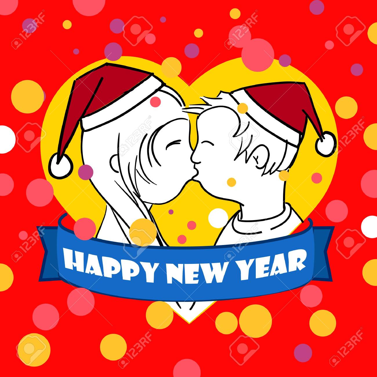 happy new love card stock vector 11258830