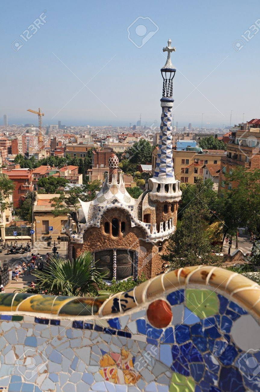BARCELONA SPAIN JUNE 29 Famous Building At The Entrance Of Park Guell