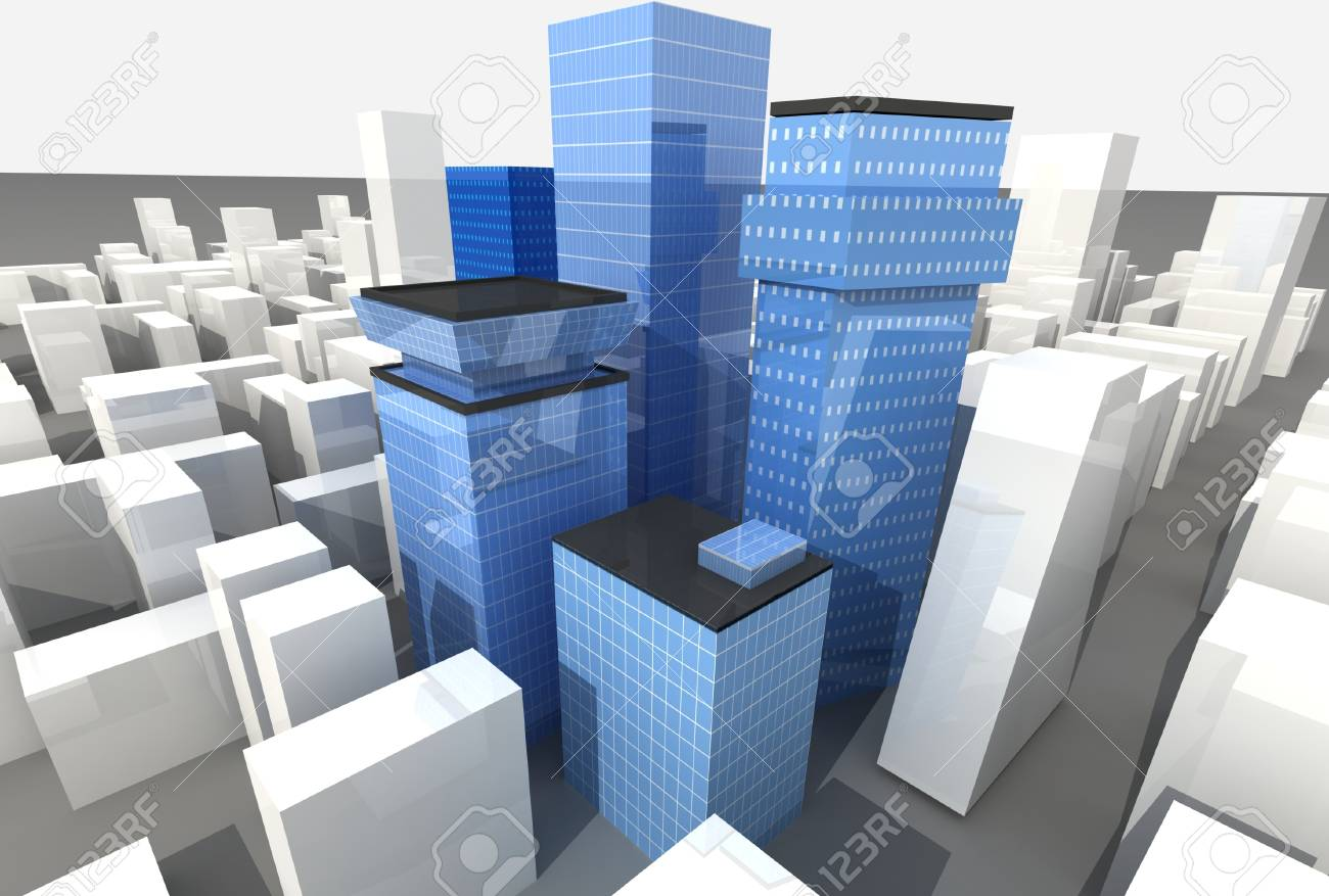 Blue glass scyscrapers in modern district Stock Photo - 11260429