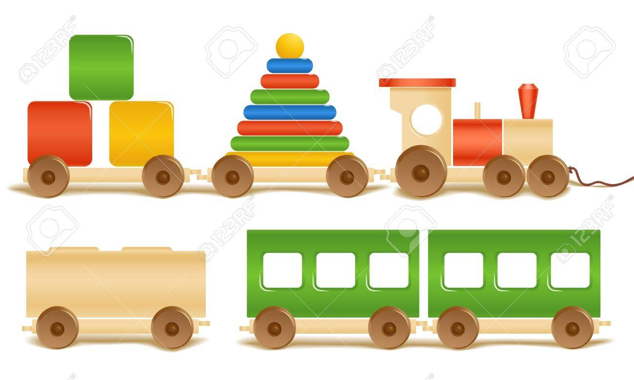 Wooden color toys. Pyramid, train, cubes. Stock Vector - 11430444