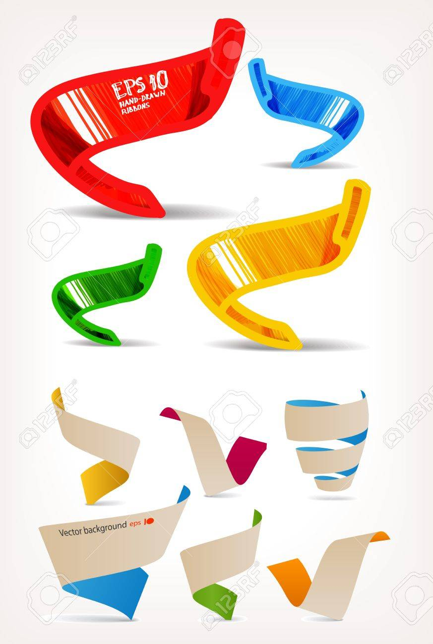 Mega set of colorful origami and handmade ribbons. Place your text here Stock Vector - 11333279