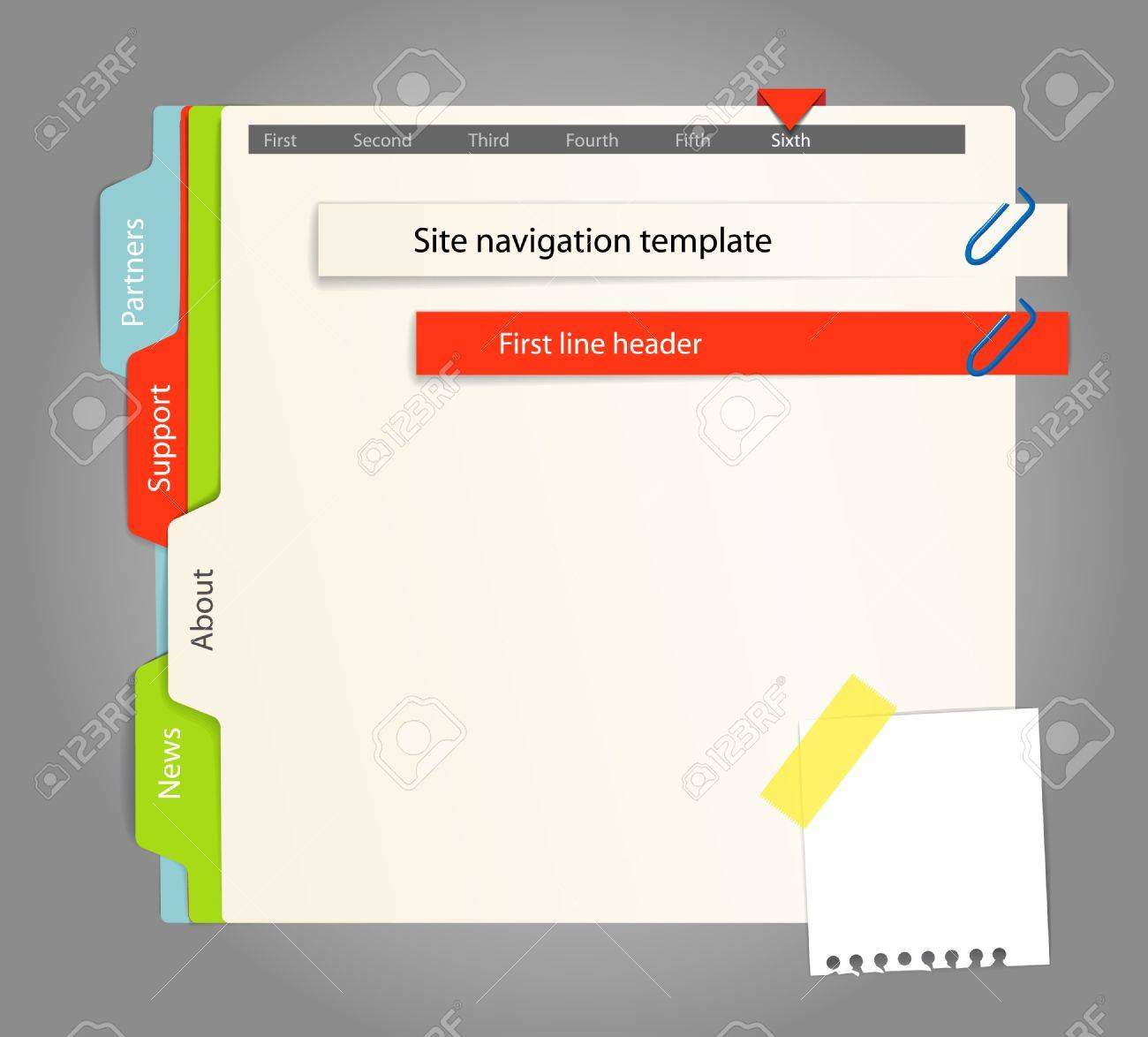 Web site template. Paper style Stock Vector - 11372437