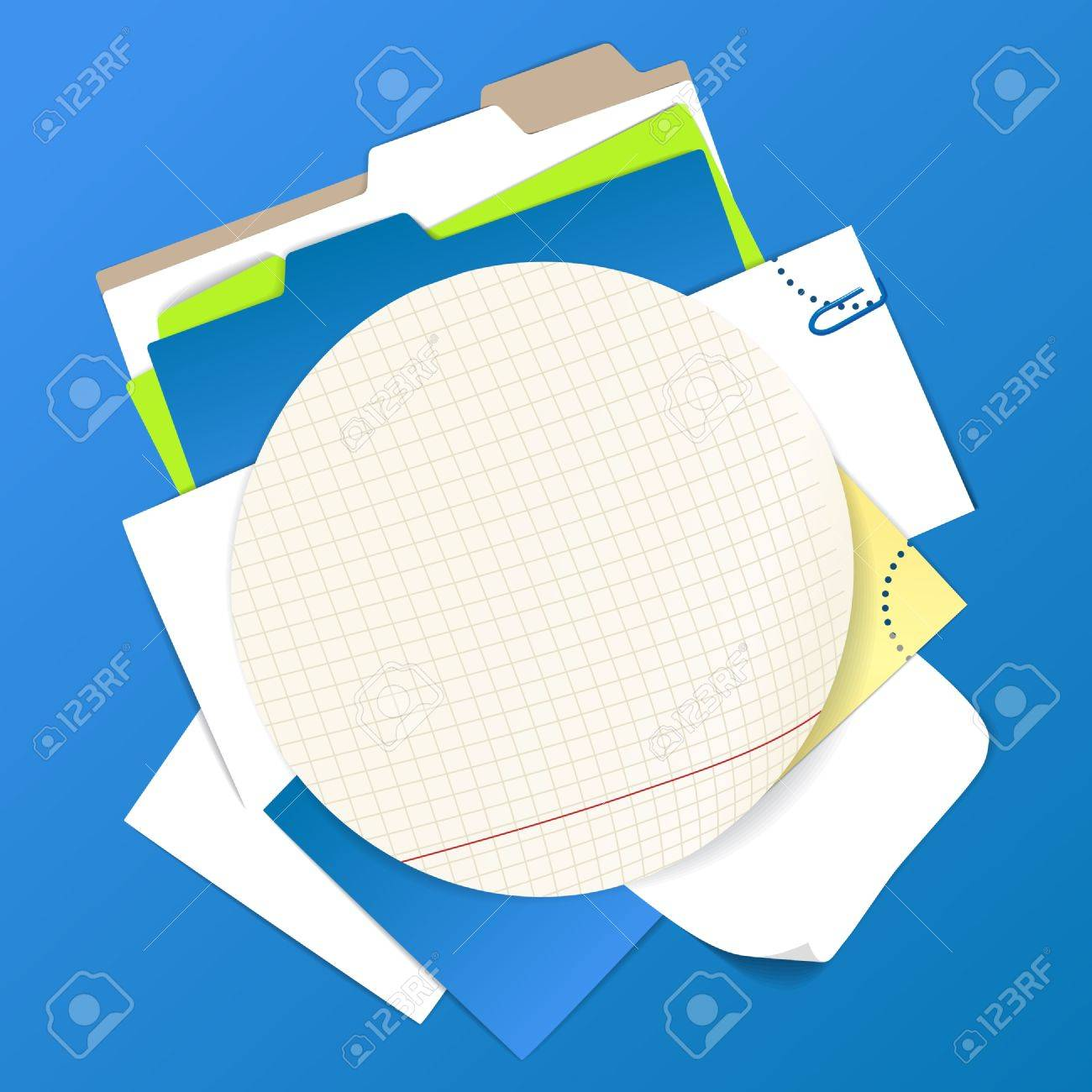 Circular background of color office stuff Stock Vector - 11333444