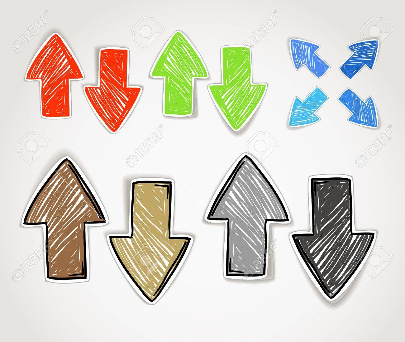 Color drawdown - Draw Down Hand Drawn Arrow Symbols Collection Illustration