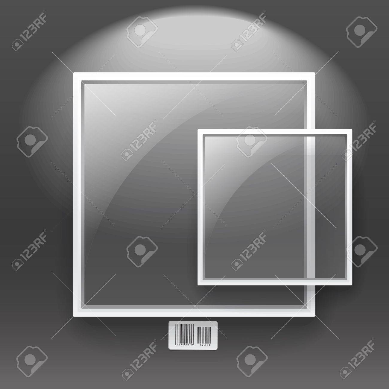 Glass Boards With White Frame On The Wall. Text Template Royalty ...