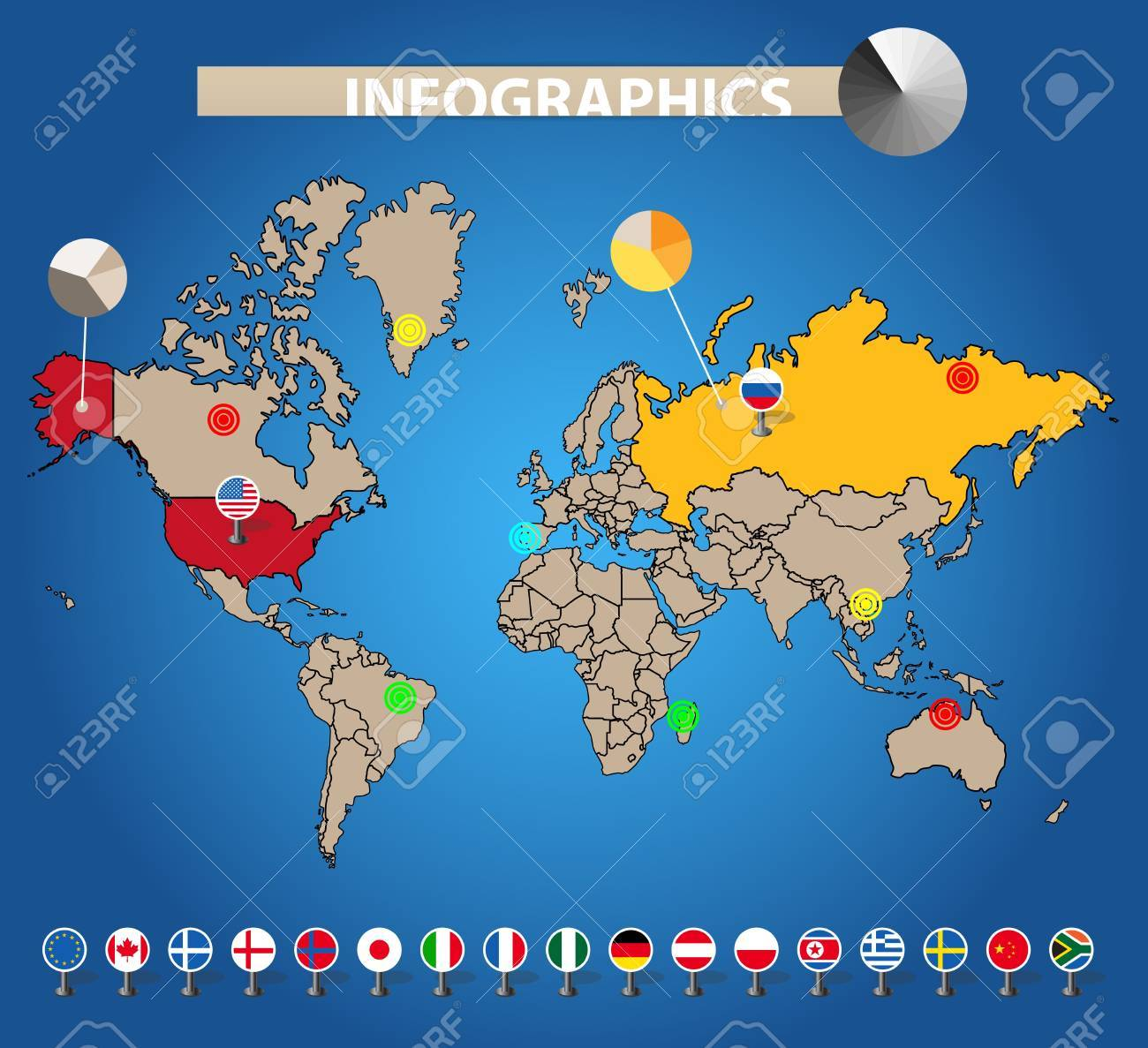 Infographics. Color earth map with flags of different countries, on blue Stock Vector - 11333132