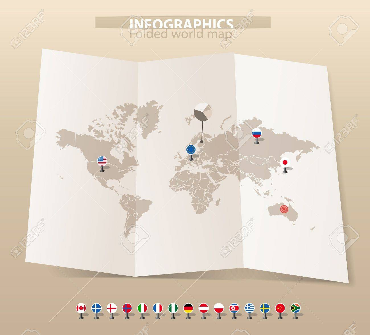 World map on old map and flags of different countries Stock Vector - 11333789