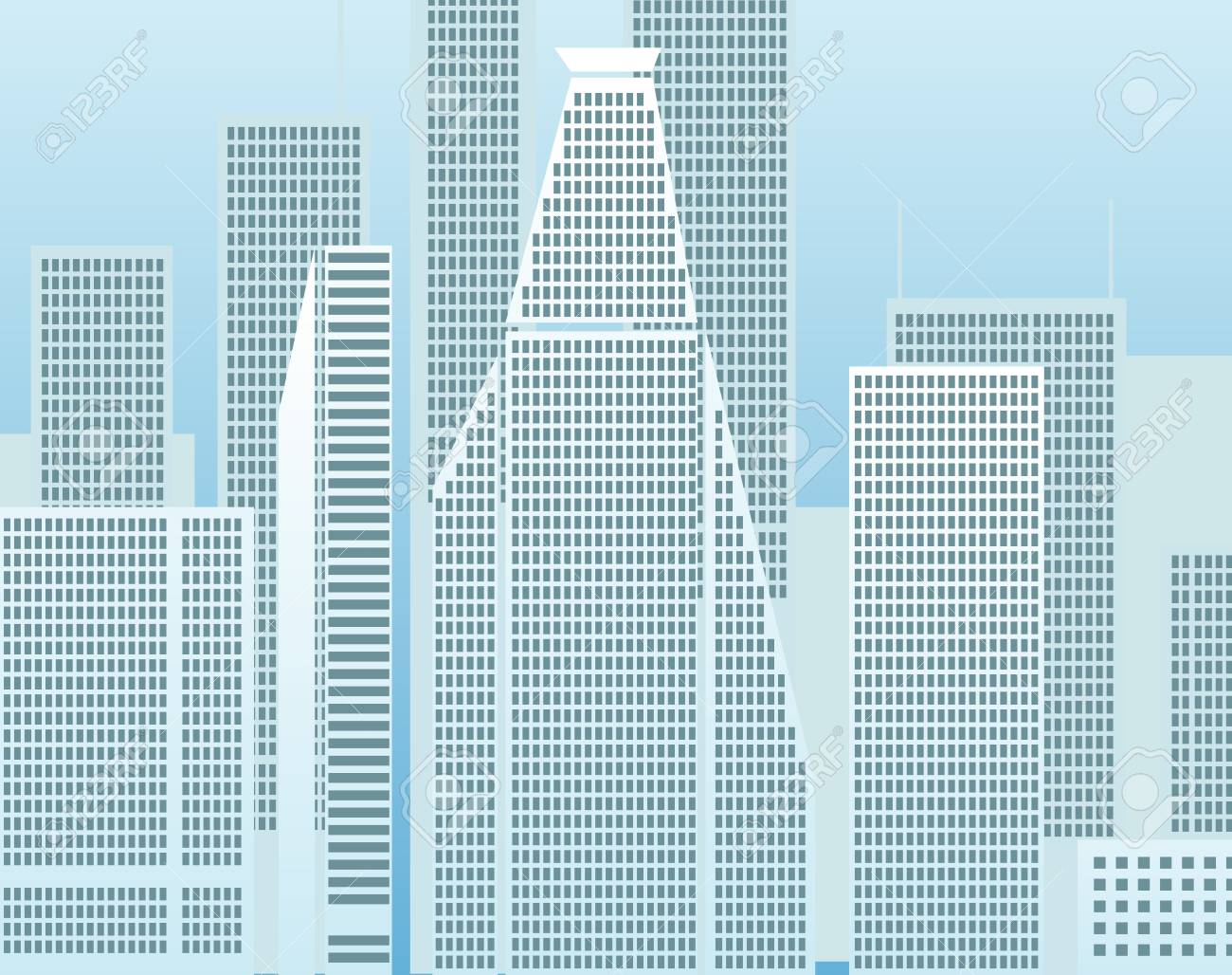 Modern city district illustration Stock Vector - 11430564